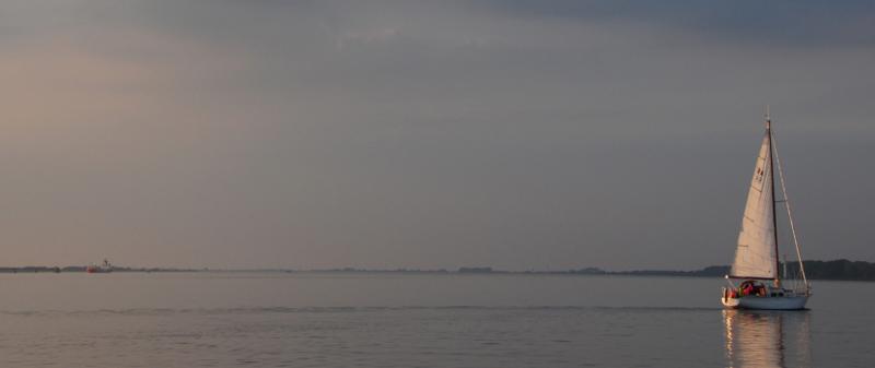 Das Segelboot Ritena segeln bei flauen Winden in den Sonnenuntergang hinein. Im Hintergrund ist die Elbinsel Pagensand zu sehen.