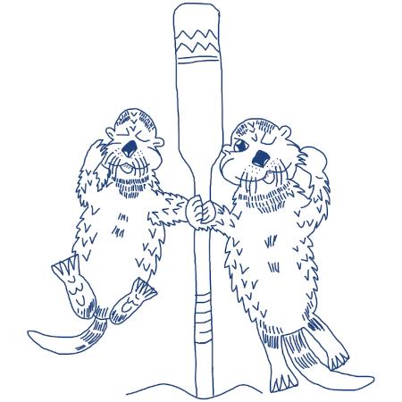Zwei Otter halten einen Riemen, den man zum Pullen aufm Jugendwanderkutter benutzt.